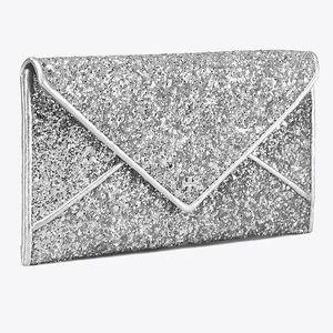 Tory Burch silver glitter envelope wallet